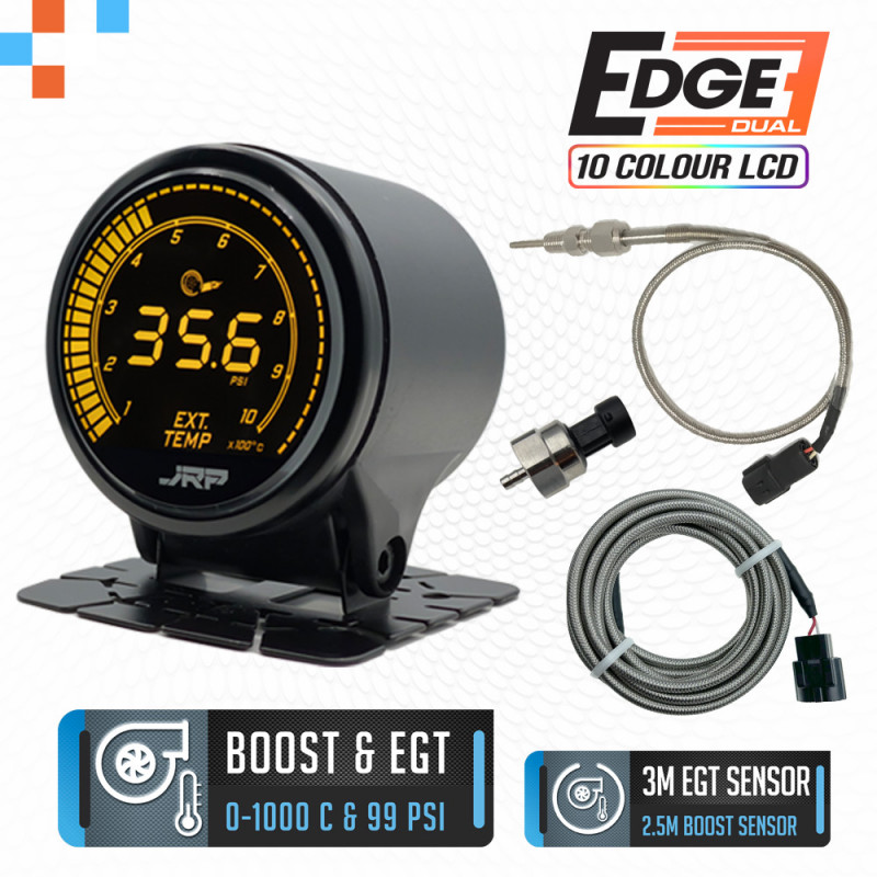 The JRP Edge dual 52mm digital EGT + Boost gauge kit, selectable LCD colour examples & included accessories. Used on Turbo Diesel 4x4 vehicles.