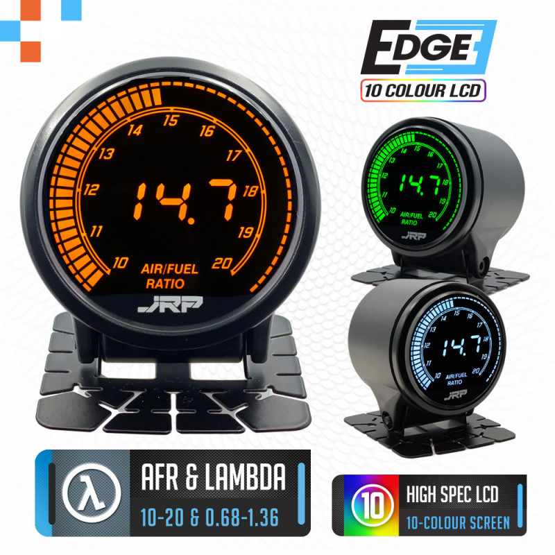 The JRP edge 52mm digital air fuel ratio gauge with Lambda support & included accessories.