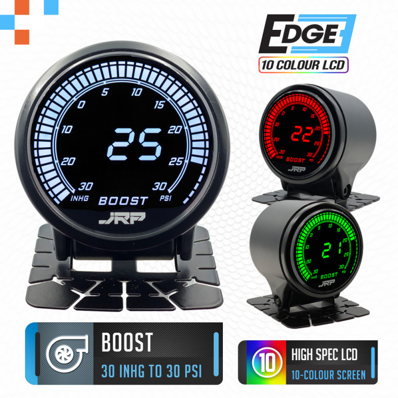 The JRP edge 52mm digital boost gauge kit 30 psi, LCD colour examples & included accessories. Used on Turbo & Supercharged vehicles.