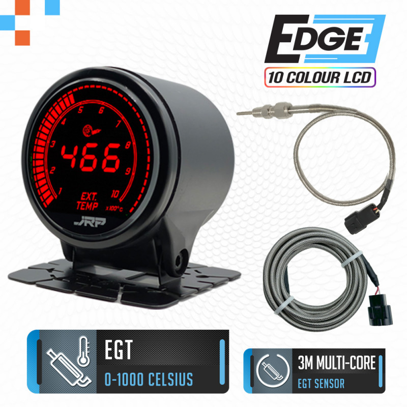 The JRP edge 52mm digital EGT gauge for Diesel 4x4, display colours & included accessories.