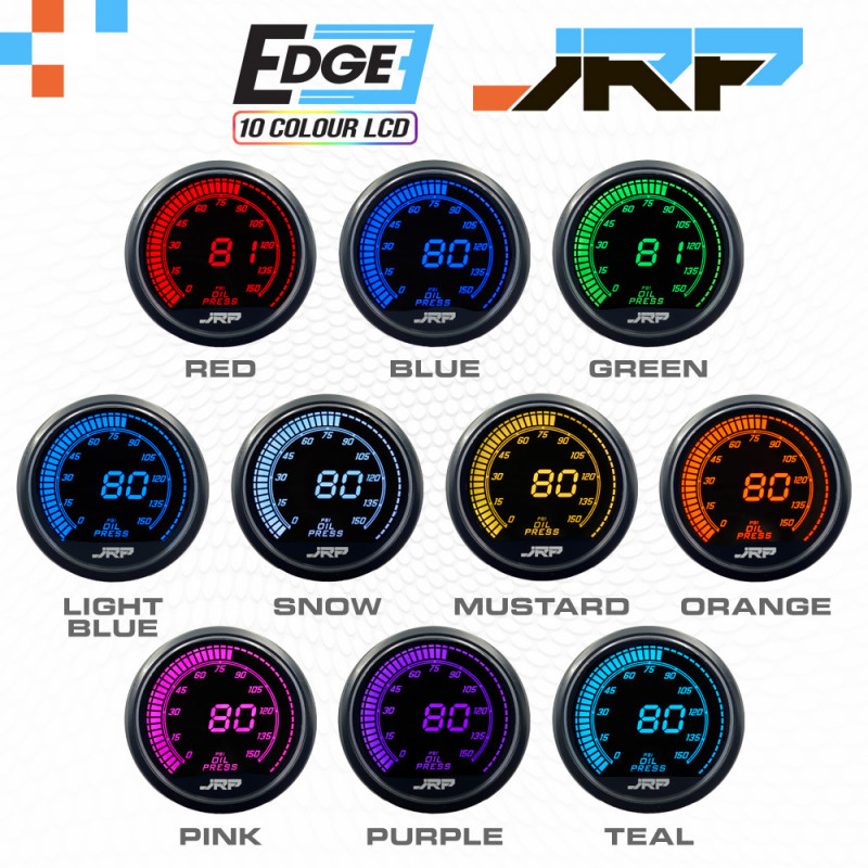 The JRP edge 52mm digital oil pressure gauge with 0-150psi readout, lcd colours examples & included accessories.