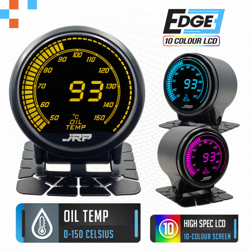 The JRP edge 52mm digital oil temp & trans temp gauge kit with 0-150c readout, lcd colours examples & included accessories.