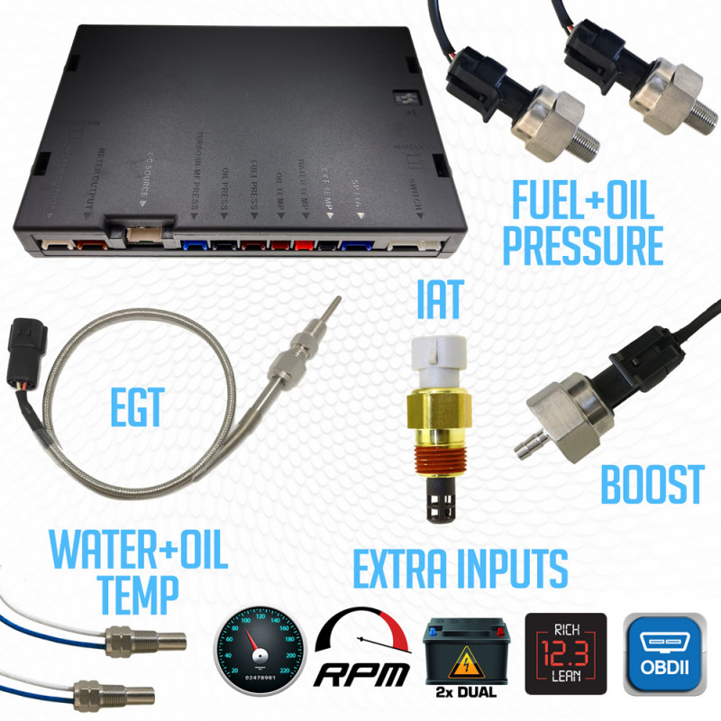 Gear that's included with the JRP multi gauge base unit & sensor package v2.5