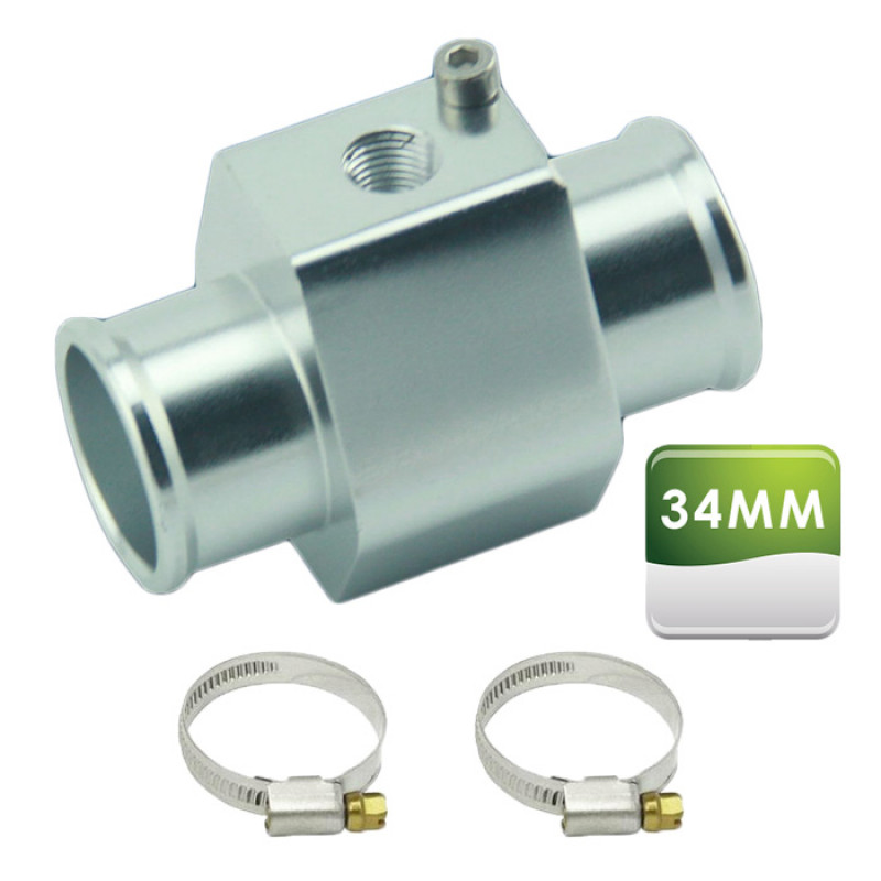 Picture of what is included with our 34mm water temp sensor hose adapters.