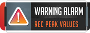 Gauges can have warnings set, and peak value recording